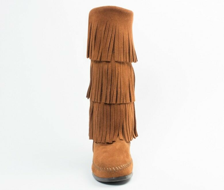 Minnetonka High 3 Fringes Moccasins 1632 Damens'S Knee High Minnetonka Boot Hardsole Braun Suede f95f2a