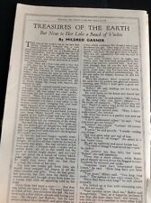 M6-4 Ephemera 1940 Short Story Treasures Of The Earth Mildred Garner