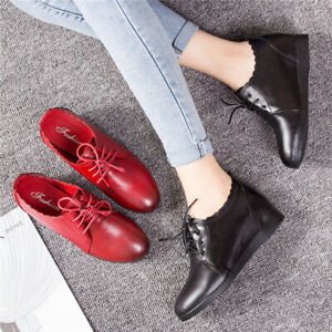 Women-039-s-Hidden-Wedge-Heel-Loafers-Leather-School-Work-Brogues-Lace-Up-Boat-Shoes