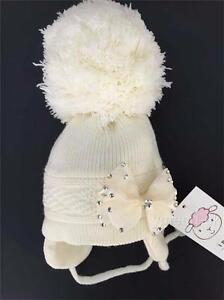 SALE  Baby Girl Big Pompom Hats with Big Bow Cream  0-3 Months to 2 ... f14b6e6d19bf