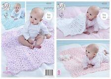 King Cole Baby Blankets Yummy Chunky Yarn Knitting Pattern 4533