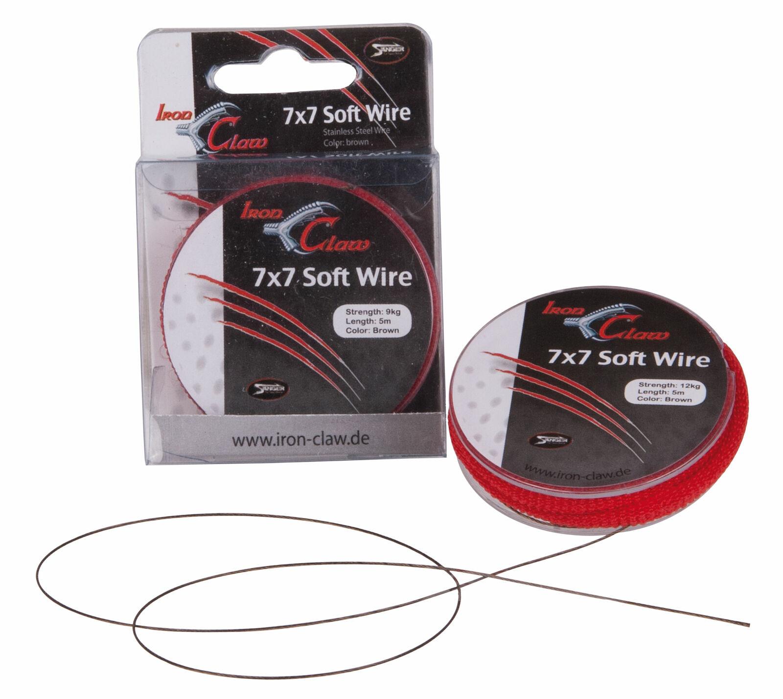 Sänger Iron Claw 7x7 Wire Leader Stahlvorfach mit Snap Hecht Zander