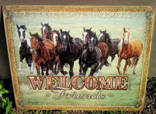 Welcome Horse Lover Tin Metal Sign Rustic Country Home Ranch Picture Gift USA