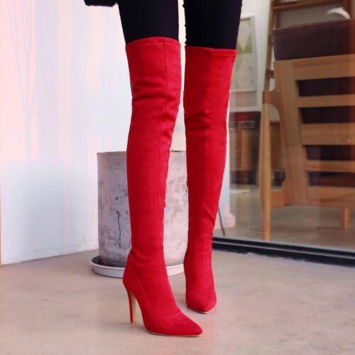 High Stilettos Talons Compensés à bout pointu Bottes Cuissardes au-dessus Du Genou Bottes Chaussures Automne taille