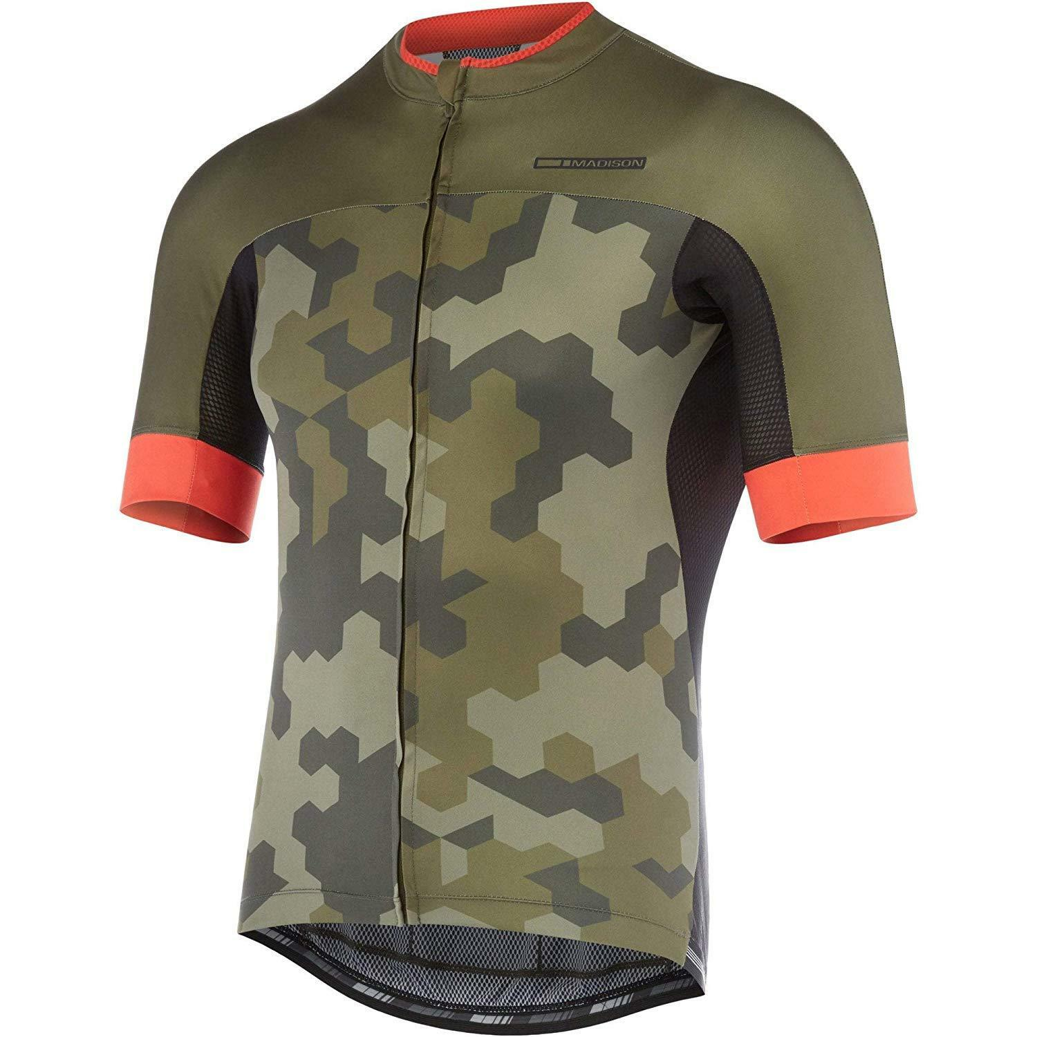 RoadRace Apex Herren short olive sleeve jersey, dark olive short / chilli ROT hex camo X-larg 336e5c