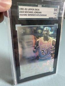 1992-93-Upper-Deck-Award-Winner-MVP-Hologram-AW4-MICHAEL-JORDAN-SGC-98-Gem