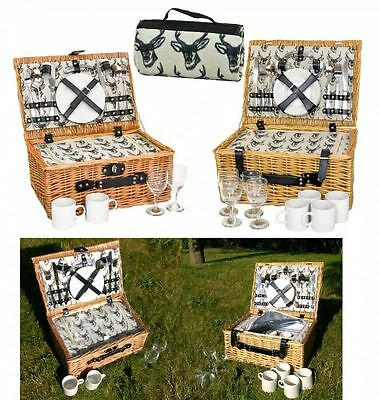 e2e Line Drawn Stag Full Wicker 2 or 4 Person Fitted Picnic Hamper Basket