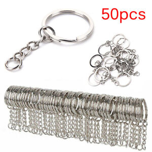 50X-Polished-Silver-Key-Rings-Key-Chain-Split-Ring-Short-Jewelry-Findings-DIDDAU