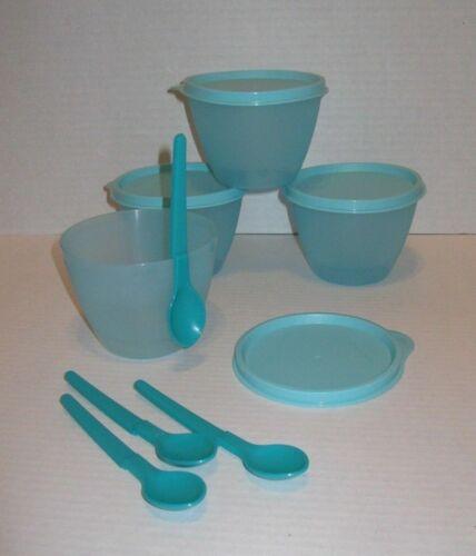 Tupperware Refrigerator Bowl with Spoon Set of 4 Aqua NEW