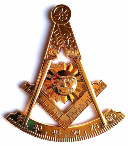 "Masonic Past Master cut out car Auto Gold Emblem 3/"" DIECAST"