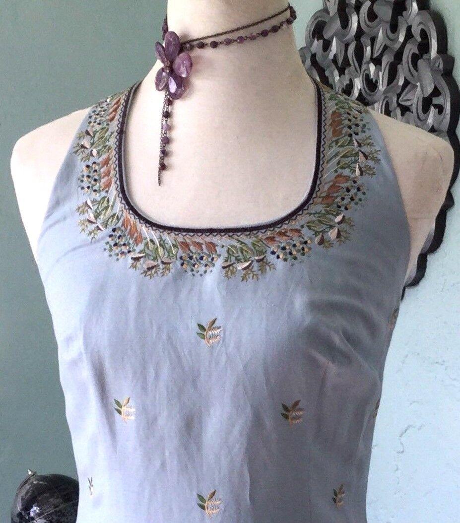 NWT Gorgeous Anthropologie Embroiderot Linen Sleeveless Dress Boho Maxi 6