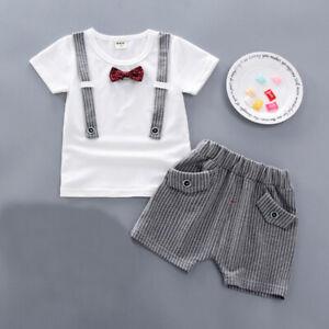 tie+pants boys wedding birthday clothes 2pcs baby outfits tuxedo cotton T shirt