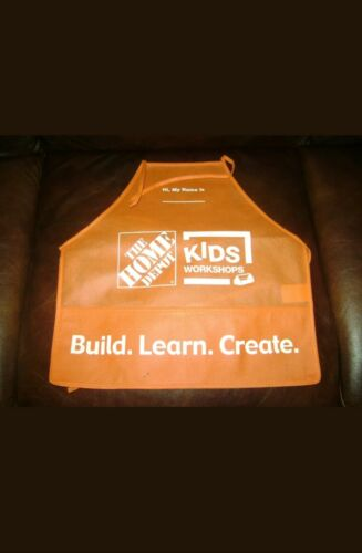 NEW HOME DEPOT KIDS WORKSHOP ORANGE APRON BUILD LEARN CREATE  FREE SHIPPING