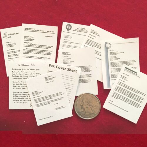 "Set of 10 Business documents 1:6 scale Handmade miniature for 11/""-12/"" dolls"