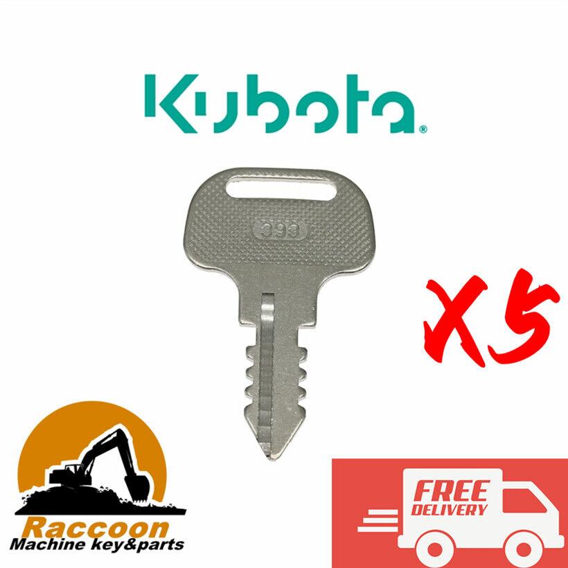 5pcs Fits KUBOTA 18510-63720 393 Ignition key Kubota M Series Tractors