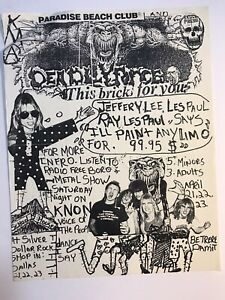 Dallas Texas 1980's Metal Band Flyer DEADLY FORCE Hand Drawn Advertisement