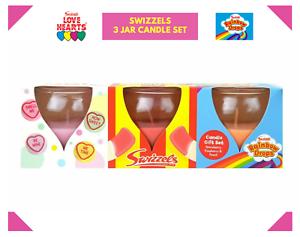 Swizzels Bougie Ensemble Cadeau-Love Hearts Rainbow Drops-Pack de 3-Yummy Saveurs