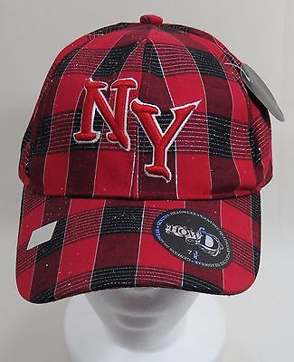 """NEW NY New York White On Red Fitted Baseball Cap 7 3//8/"""""""