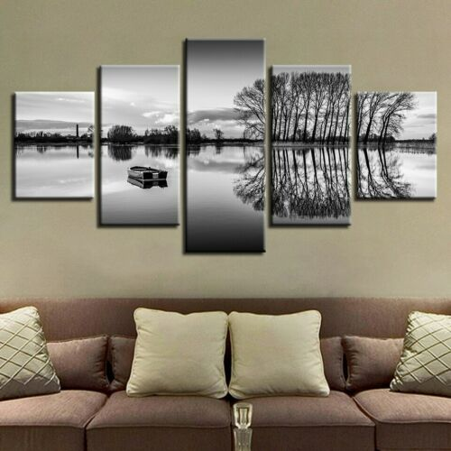 White and Black Painting 5p canvas print Refresh Poster Wall Art Love Home Decor