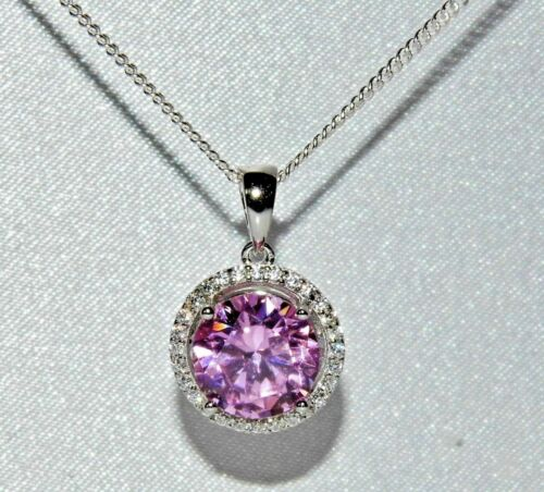 Sterling Silver 4.00ct Pink Topaz Halo Pendant Necklace 925
