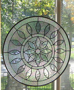 Image Is Loading Large Round Iridized Victorian Stained Gl Window Panel