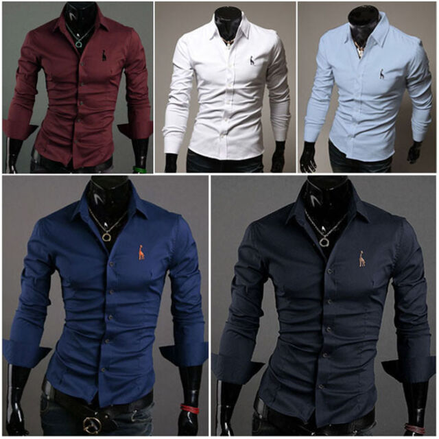 UK New Fashion Mens Formal Long Sleeve Casual Slim Fit Stylish Shirt Blouse Tops
