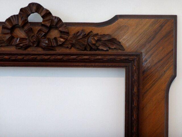 Superbe grand cadre en acajou fronton bois sculpté Old wooden carved frame XIX