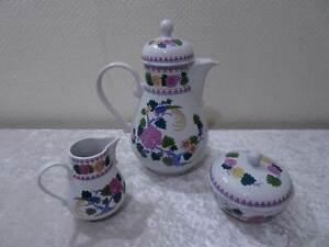 DDR-Kahla-Design-Porzellan-3-tlg-Kaffeekern-Vintage-um-1970-80-Blumen