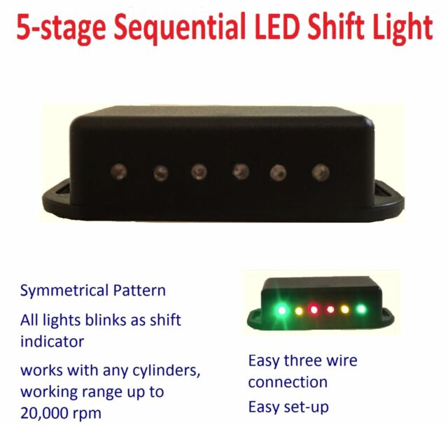 Sequential LED Shift Light 5 Stage