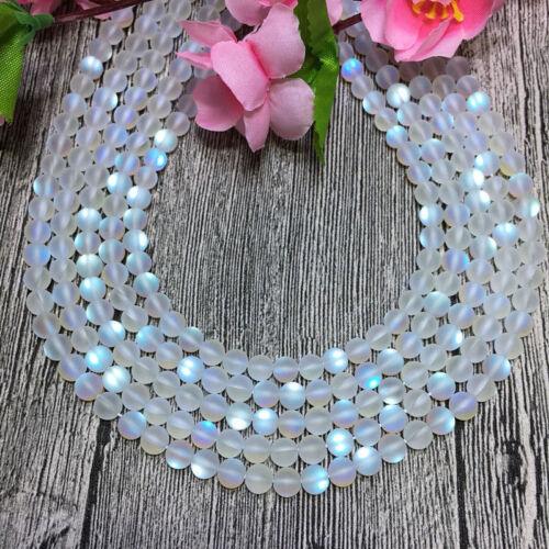 "6//8//10//12mm Blanc//Gris Gleamy Rainbow Moonstone Round Gems Loose Beads 15/"" AAA"