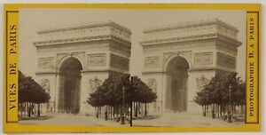 Arco Di Triomphe Parigi Francia Foto Stereo L6n56 Vintage Albumina c1870