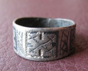 Ancient-Artifact-gt-Viking-Silver-Laguz-Rune-Ring-with-Niello-Sz-9-US-19mm-VK-28