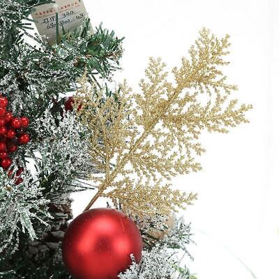 10Pcs Glitter Fern Leaf Stems Artificial Leaves Christmas Tree Xmas Wedding Decr