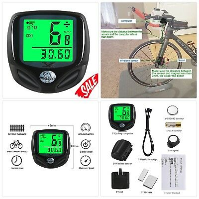 Bicycle Odometer Speedometer,LCD Backlight Display Wireless Waterproof Bike Odometer with Extension Holder Cycling Accessories for Outdoor Exercise