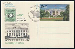 20C Tarjeta de imágenes 1989 EE. UU. Postal Primer Día Cubierta Scott UX143 Artmaster WSE DC