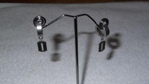 Mens Womens Stainless Steel Hoop Huggie Drop Dangle Razor Blade Pair Earrings