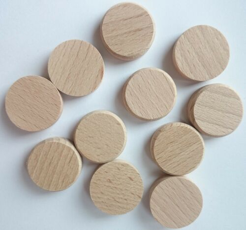Curved for 25mm Hole Wooden Button Caps Cover BEECH SOLID WOOD Flat Head Plug