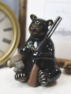 "Rustic Western Cabin Lodge Realistic Black Bear Roaming The Woods Figurine 10/"""