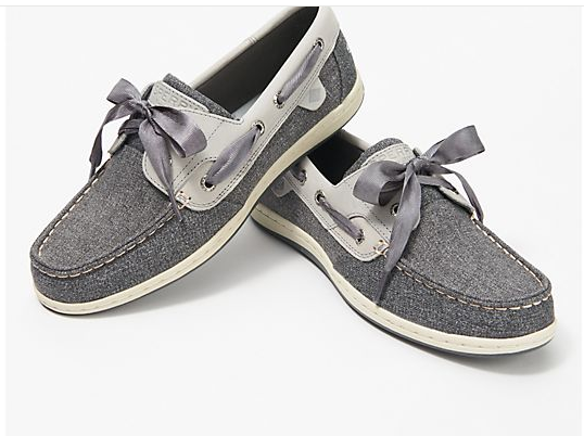 Sperry Koifish Sparkle Chambray Boat Shoe-Grey-9M A371080 NEW