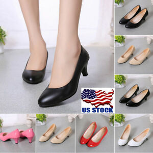 Womens-Classic-Low-Mid-High-Heel-Pointed-Toe-Pumps-Office-Lady-Slip-on-Shoes-USA