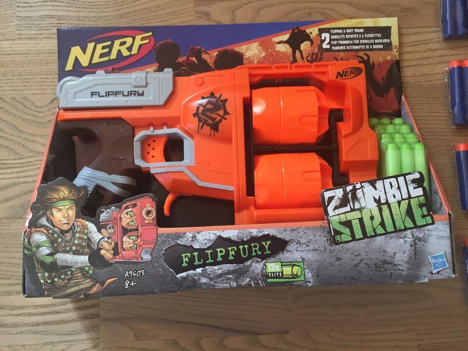 Våben, NY Nerf Flipfury + 40 extra NYE pile, NERF