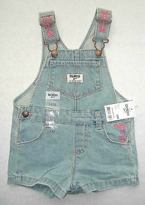 Herrlich Oshkosh Latzhose Neu! Gr. 74 -86 Kurz Jeans Blau Blumen Latzshorts Shorts Pink