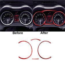 4pcs Red Carbon Fiber Speedometer Frame Cover Trim For Mitsubishi Lancer 2008 15