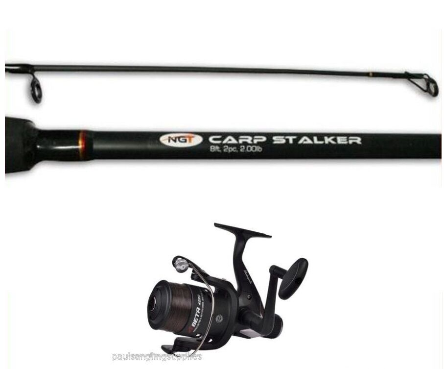 Carp Fishing Stalker   Margin Rod & Shakespeare Reel  8 ft 2lb Testcurve