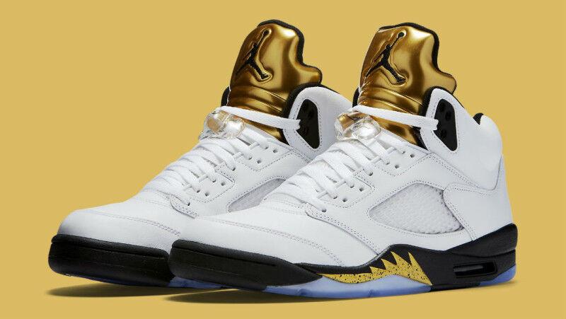 Nike air jordan jordan jordan 5 v retro - größe 8.olympia - weiße / metallisches gold medal.136027-133 1b5bdf