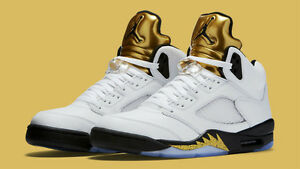 6b6c63bede4e Nike Air Jordan 5 V Retro size 9. Olympic White Metallic Gold Medal ...