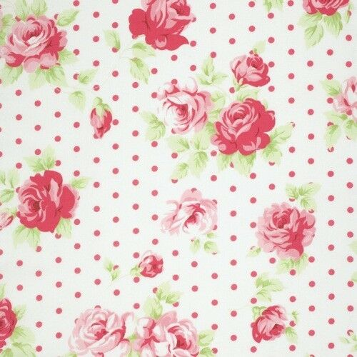 FreeSpirit Tanya Whelan Lulu Roses LILY Cotton Fabric-White-£10.00 Mtr-Free P/&P
