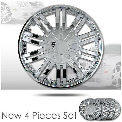 New set of four 15 Inch 10 Spikes Chrome Hubcaps Rim Wheel Skin Covers Set 529