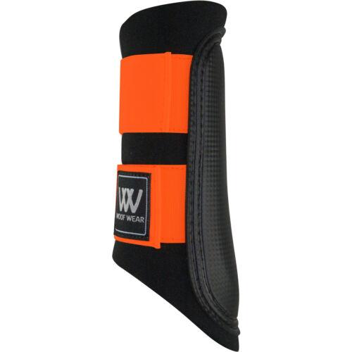 Woof Wear Club Colour Fusion Unisex Horse Boot Brushing Black Orange All Sizes