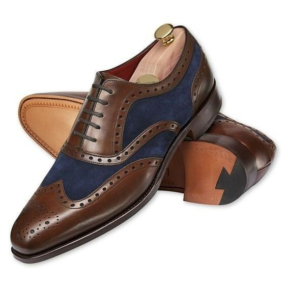 Men Handmade Oxford Brogue Two Tone Wingtip braun Leather & Blau Suede Men schuhe